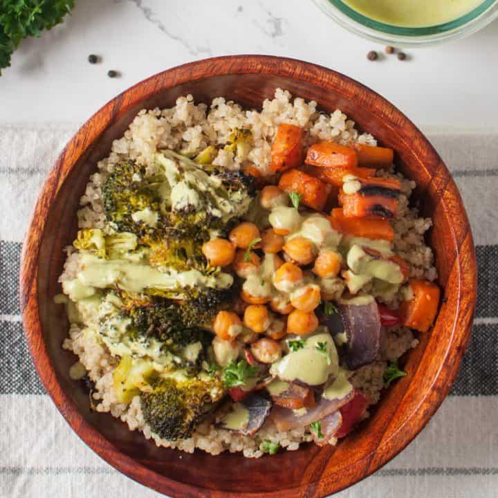 Roasted Vegetable Buddha Bowl with Tahini Dressing