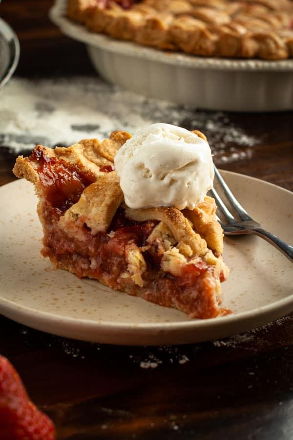 Gluten Free Strawberry Rhubarb Pie Slice with Vanilla Ice Cream