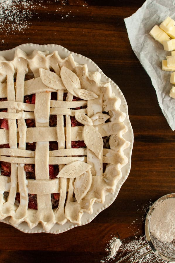 Gluten Free Strawberry Rhubarb Pie Before Baking