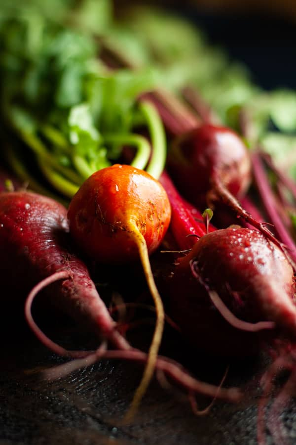 Golden and Red Beets Fresh from garden with water droplets