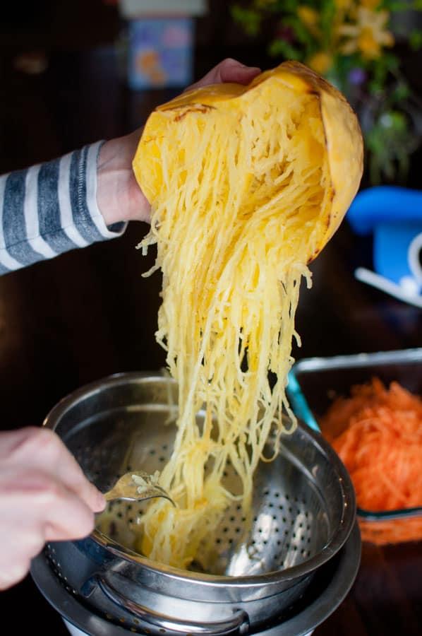 spaghetti squash pad thai step 3 scraping out the squash noodles