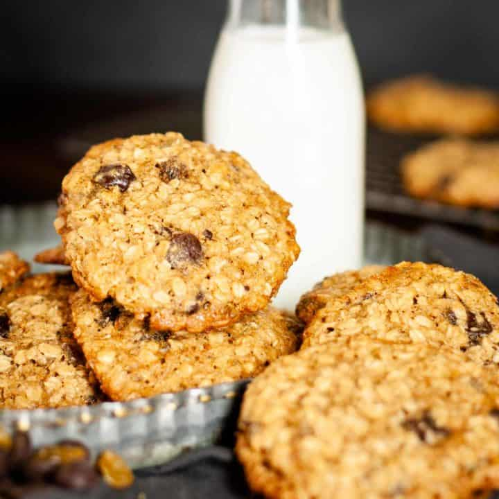Golden Raisin Oatmeal Cookies Recipe Card Photo