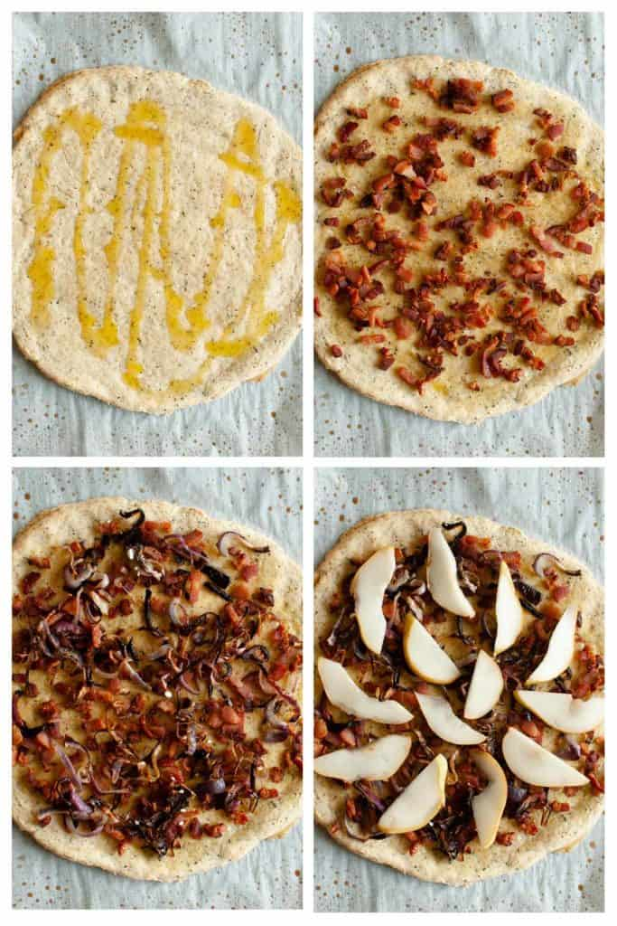 Goat cheese pear pizza, step photos how to top the pizza