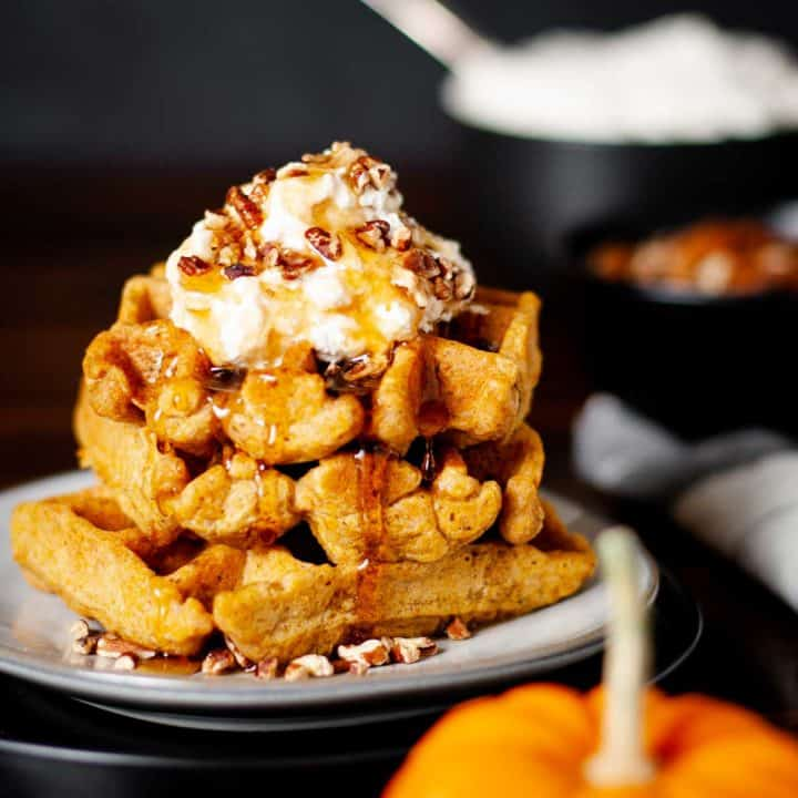 Belgian Pumpkin Waffles Recipe Card Picture