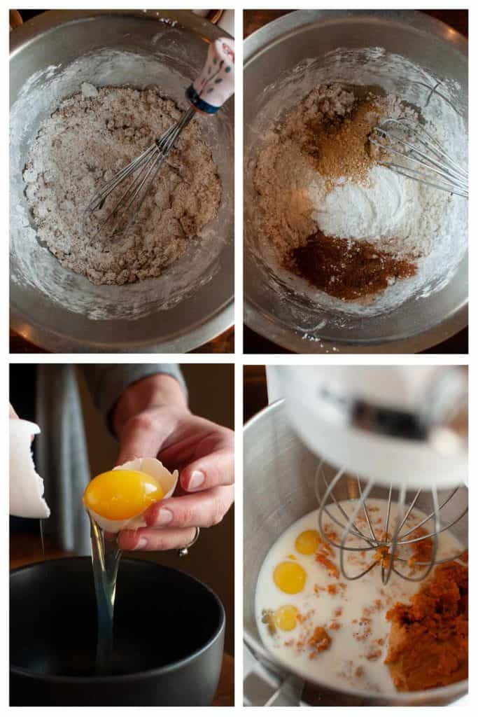 Belgian Pumpkin Waffle Recipe step photos: Mixing dry ingredients and whisking wet ingredients.