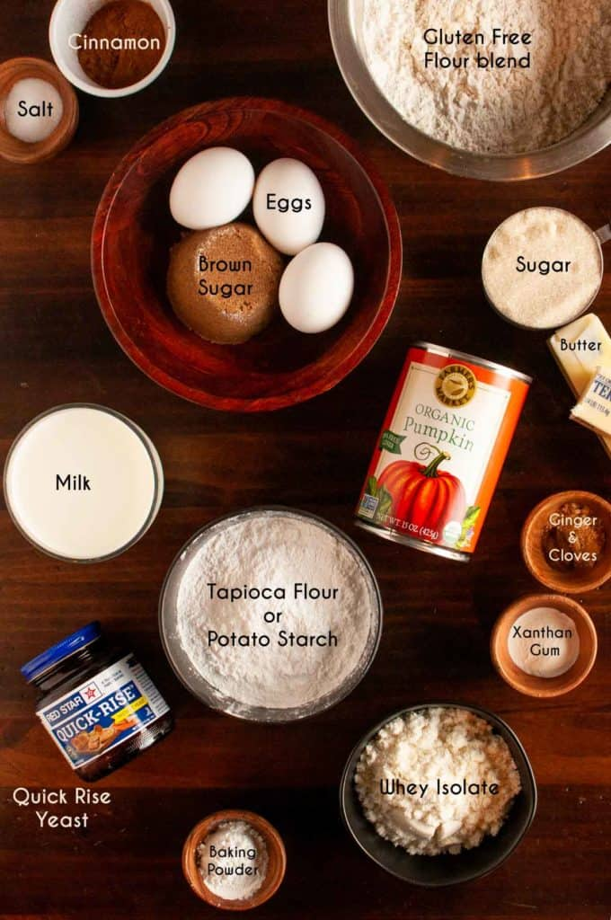 Photo of Ingredients needed for gluten free pumpkin cinnamon rolls