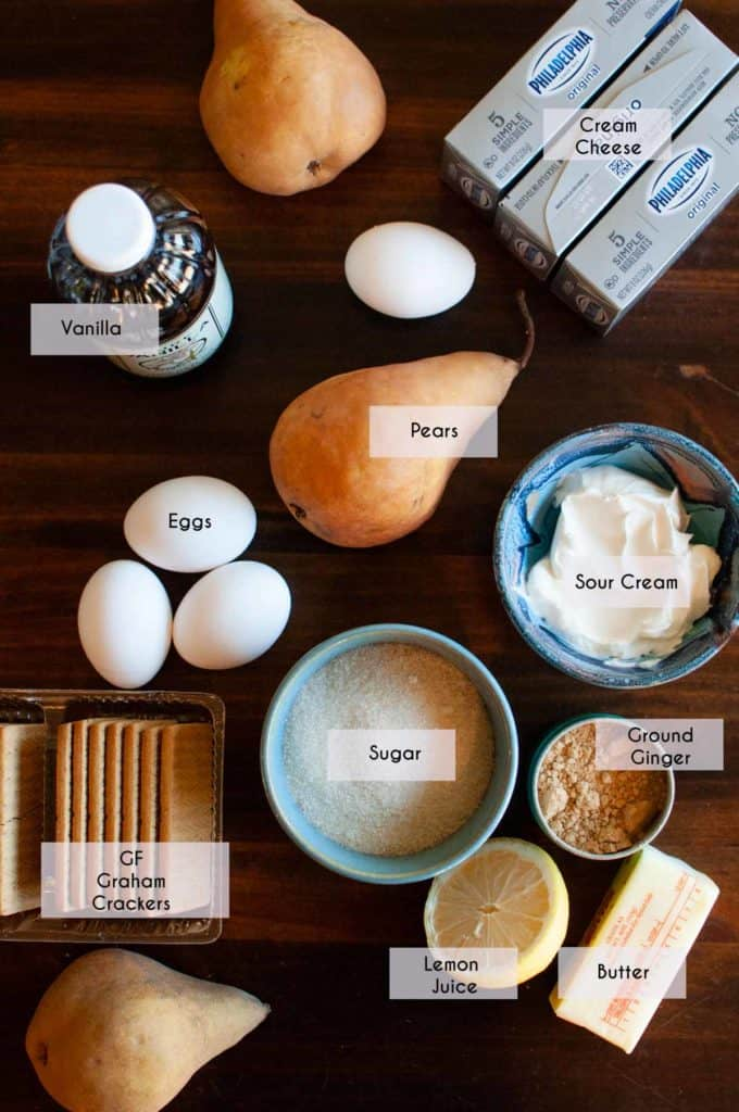 image of labeled ingredients needed for pear cheesecake