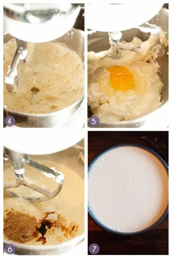steps for making the cheesecake batter, whipping the cream cheese, adding the eggs, adding spices and putting into prepared pan.