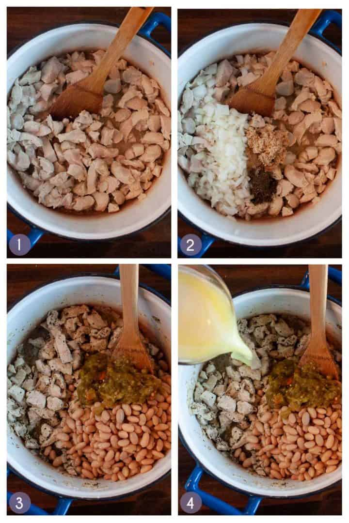step photos for how to make white chili
