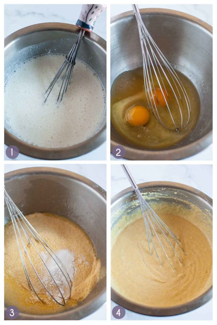 Step photos for how to make gluten free cornbread form scratch