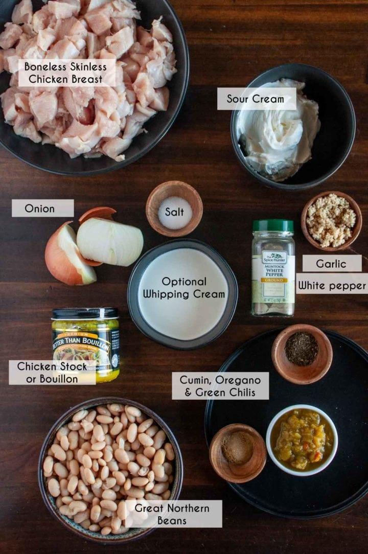 photo of ingredients needed to make gluten free white chili