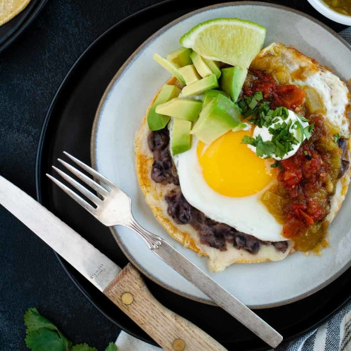 Featured imagee for huevos rancheros recipe card displaying finished dish ready to eat
