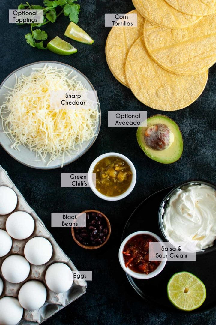ingredients all layed out on display of what you need for the easy huevos rancheros recipe