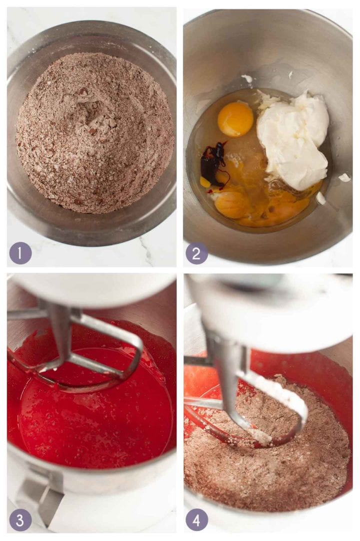 step photos for how to prepare the gluten free red velvet cupcake batter