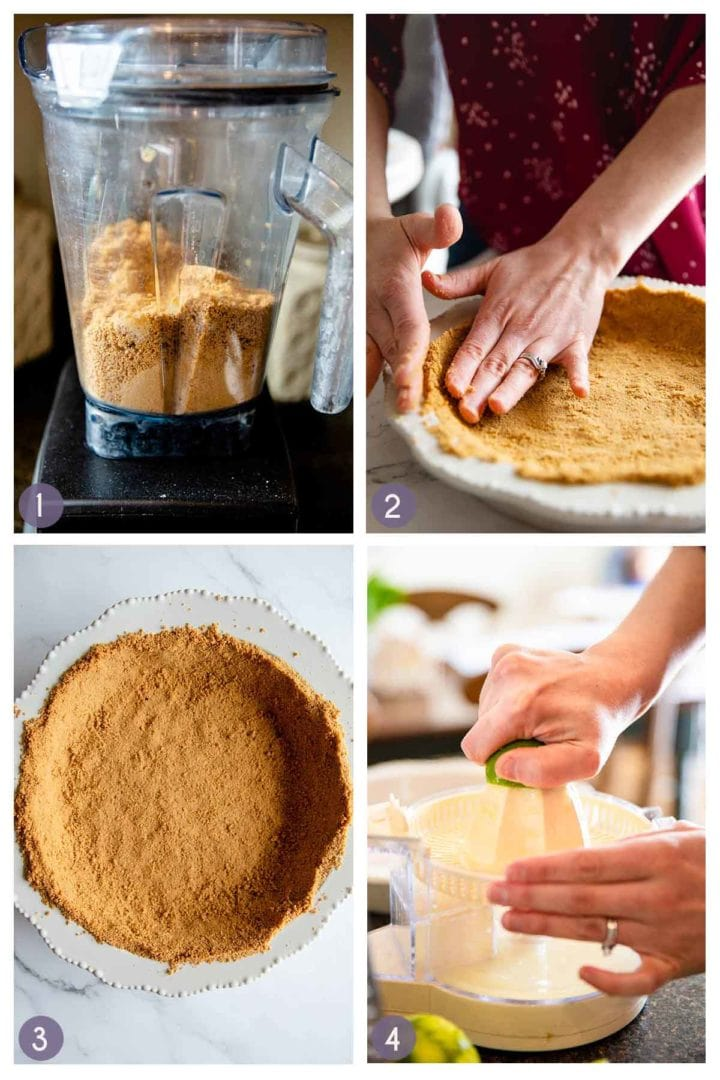 steps 1-4 of how to make key lime pie, and making the gluten free graham cracker crust