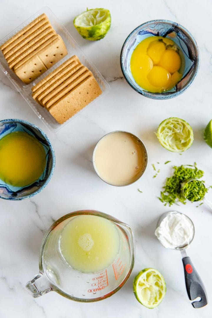 image of ingredients needed for key lime pie