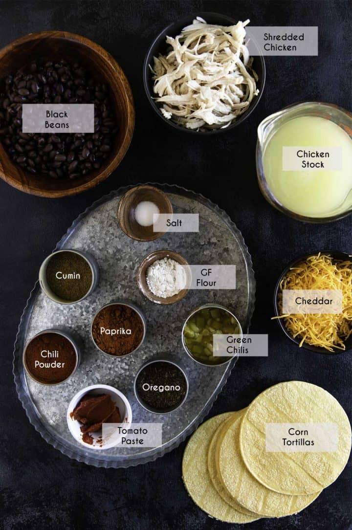 photo of ingredients needed for gluten free chicken enchiladas