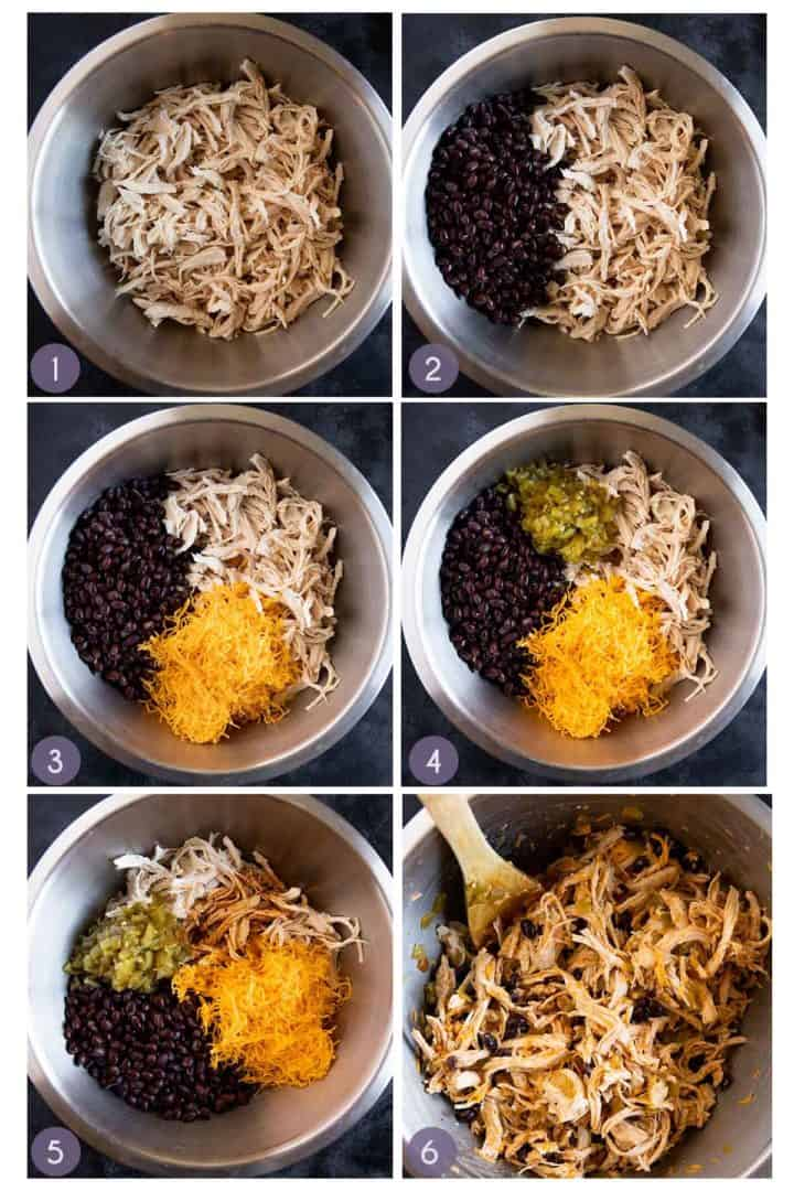 step photos for how to make the filling for green chili chicken enchiladas