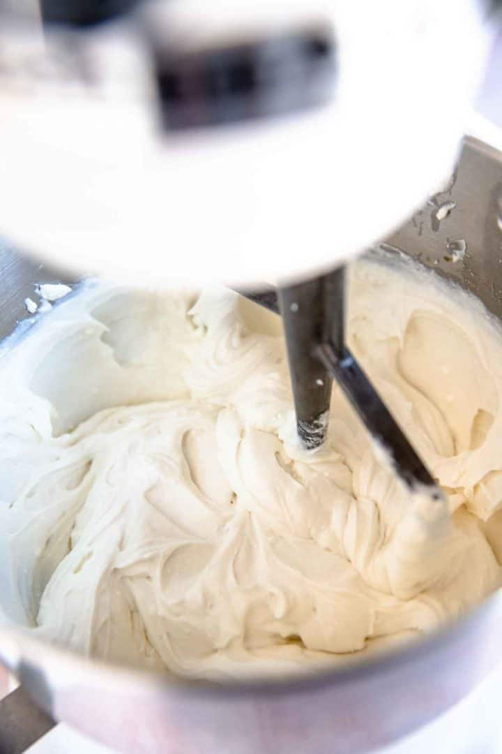 how to make blintz filling step 2. Mixing ricotta and remaining ingredients with the cream cheese in a mixer.