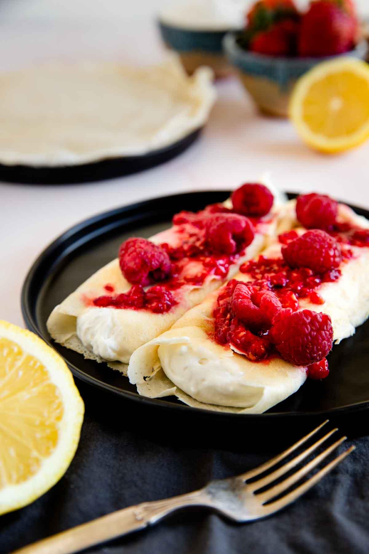 Lemon Ricotta Filled Crepes