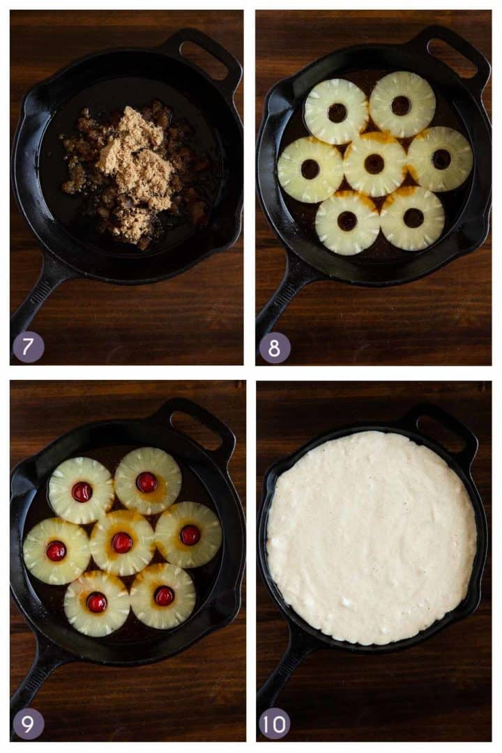 steps 7 to 10 for how to make the caramel pineapple topping for the pineapple upside down cake