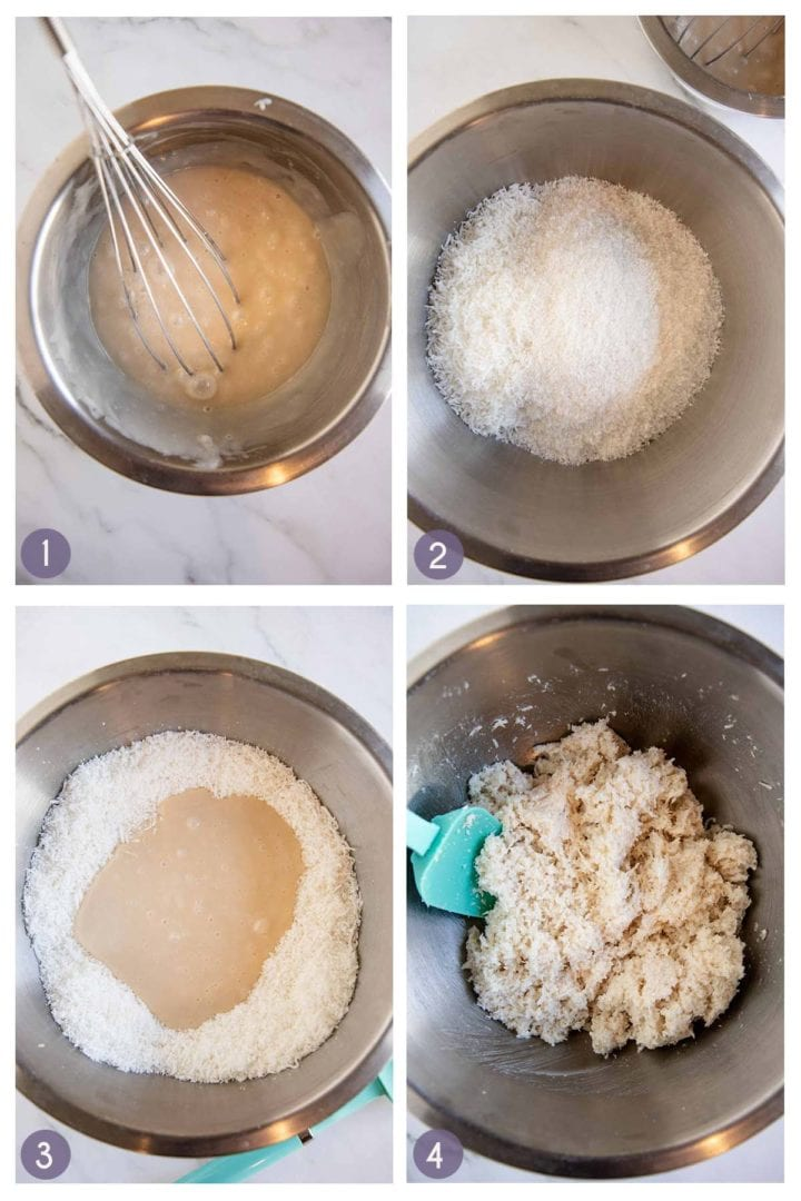 steps 1-4 of how to make coconut macaroons. Mixing wet ingredients, mixing dry ingredients, combining wet and dry ingredients to form dough.
