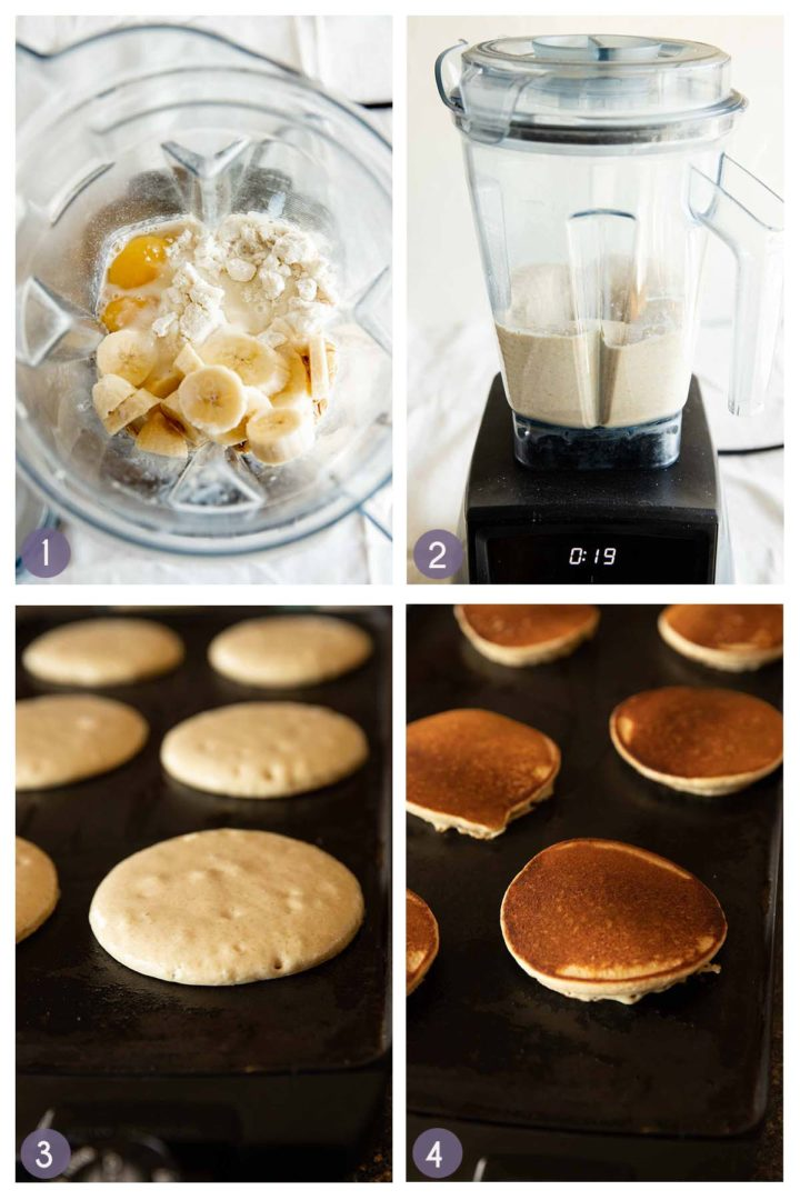 step photo collage for how to make blender oat pancakes, blend ingredients, then cooking the pancakes