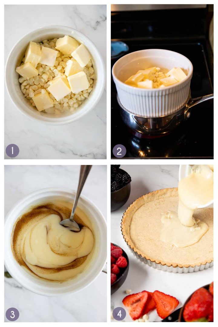 step collage of steps 1-4 how to make the white chocolate filling for the mixed berry tart