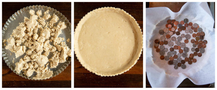 Image collage for how to assemble the tart crust, dumping dough into pan, pressing dough into pan, and lining with parchment and pie weights