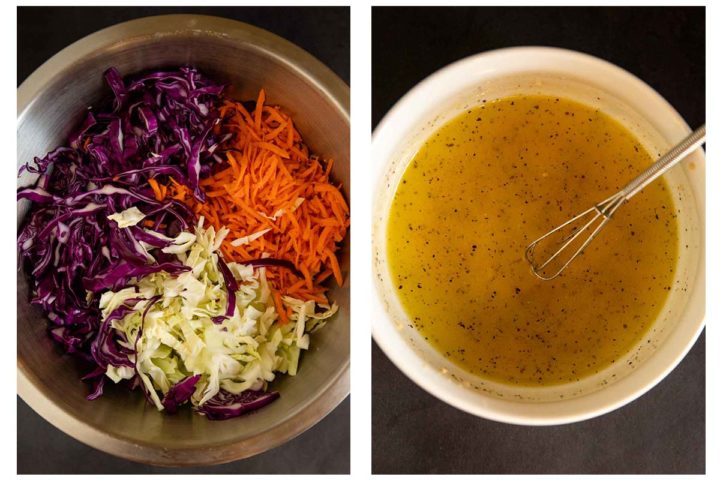 step photos for how to make no mayonnaise coleslaw, mixing the salad and preparing the dressing
