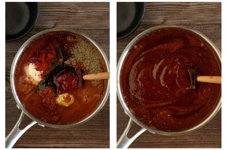 steps for how to make homemade barbecue sauce. Combine all ingredients in a saucepan and let simmer