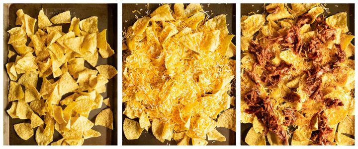 step photos for how to make shredded pork nachos, layering the chips, then the cheese and lastly the pulled pork